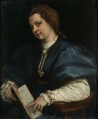 Lady with a book of Petrarch's rhyme