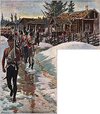 Dano-Swedish War of 1808–09 - Norwegian soldiers on the march towards the Swedish-Norwegian border during the initial phase of the war