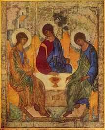"The ""Hospitality of Abraham"" by Andrei Rublev: The three angels represent the three persons of God"