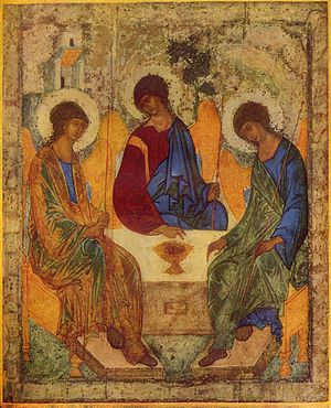 "Trinity Sunday - The Holy Trinity by St. Andrei Rublev, using the theme of the ""Hospitality of Abraham."" The three angels symbolize the Trinity, which is rarely depicted directly in Orthodox art."