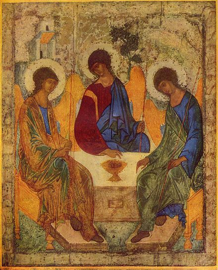 """Hospitality of Abraham"" icon by Andrei Rublev; the three angels represent the three persons of God Andrej Rublev 001.jpg"