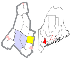 Location of Sabattus (in yellow) in Androscoggin County and the state of Maine
