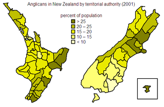 Anglican Church in Aotearoa, New Zealand and Polynesia - Distribution of Anglican population within New Zealand at the 2001 census.