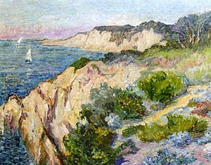 Anna Boch - Falaise - Côte de Bretagne. 62 x 84 cm. Oil on canvas.'