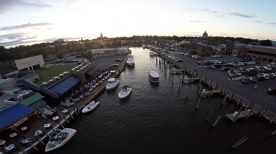 Annapolis Harbor alongside Dock Street by D Ramey Logan