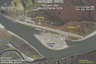 Hughes, Alaska - Image: Annotated aerial photograph of Hughes Airport (HUS)
