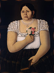 Portait of a Native Puebla Woman with a Bouquet of Roses