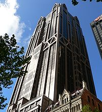 anz world headquarters designed by peddle thorp architects the building is affectionately known as gothic tower due to its architecture anz office melbourne