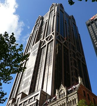 Australia and New Zealand Banking Group - ANZ World Headquarters.  Designed by Peddle Thorp Architects, the building is affectionately known as Gothic Tower due to its architecture. Queen Street, Melbourne.