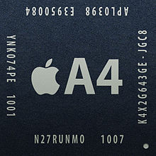 A picture of the [[Apple A4]] chip.