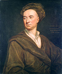 Chest high painted portrait of man wearing a brown robe and head covering