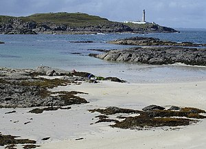 Ardnamurchan - View across Eilean Chaluim Cille bay to Ardnamurchan Point and lighthouse.
