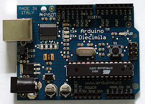 Single-board microcontroller - Arduino Diecimila with Atmel ATMEGA168