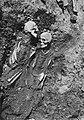 Arkeologi - Nya Lödöse. Skelett av man och kvinna, påträffade innanför södra kyrkomuren till Nya Lödöse kyrka, fotograferat 1915..JPG
