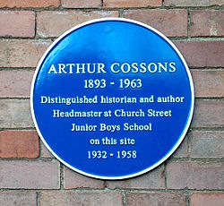 Arthur cossons plaque