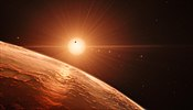 Airtist's impression o the TRAPPIST-1 planetary seestem