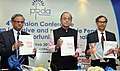 Arun Jaitley releasing a CRISIL compiled Report on 'Financial Inclusion and Pension Coverage'.jpg