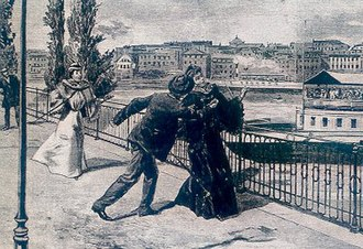 Propaganda of the deed - An artist's rendition of the stabbing of Empress Elisabeth of Austria by the Italian anarchist Luigi Lucheni in Geneva, 10 September 1898