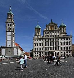 Perlachturm und Rathaus in Augsburg