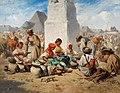 August von Pettenkofen - Markt in Szolnok mit der Dreifaltigkeitssäule (1853).jpg