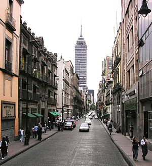 Cuauhtémoc, Mexico City - Avenida Madero looking towards the Torre Latinoamericana