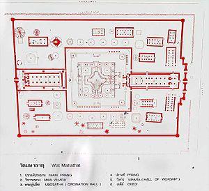 Wat Mahathat (Ayutthaya) - Plan of the ruins of Wat Mahathat, Ayutthaya
