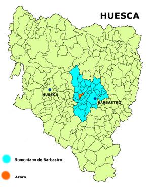 Azara, Huesca - Image: Azara mapa