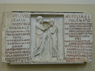 An inscribed funerary relief of Aurelius Hermia and his wife Aurelia Philematum, former slaves who married after their manumission, 80 BC, from a tomb along the Via Nomentana in Rome BM GR 1867.5-8.55 - 01.JPG