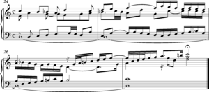 Pedal point -  J.S.Bach, concluding bars of the Fugue in C major from The Well Tempered Clavier, Book I, BWV 846.