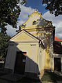 Back view and door of church of Saint Francis of Assisi in Hostim, Znojmo District.JPG