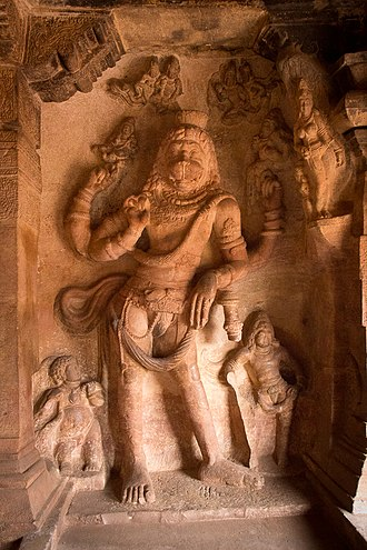 Narasimha - Vishnu as Narasimha after slaying Hiranyakashipu, Group of Monuments at Badami.