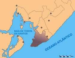 Carte de la baie de Tous les Saints