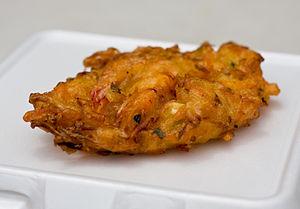 Bakwan - Image: Bakwan (seafood cake with whole shrimp)