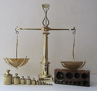 Weighing scale - Set of balance scales, with weights