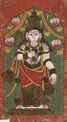 17th century mural of Balarama from a wall hanging in an Indian temple.