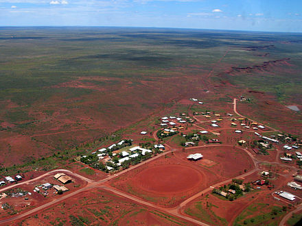 Balgo, Western Australia, the base of Warlayirti Artists, which represented Topsy Gibson. Balgo from the air.jpg