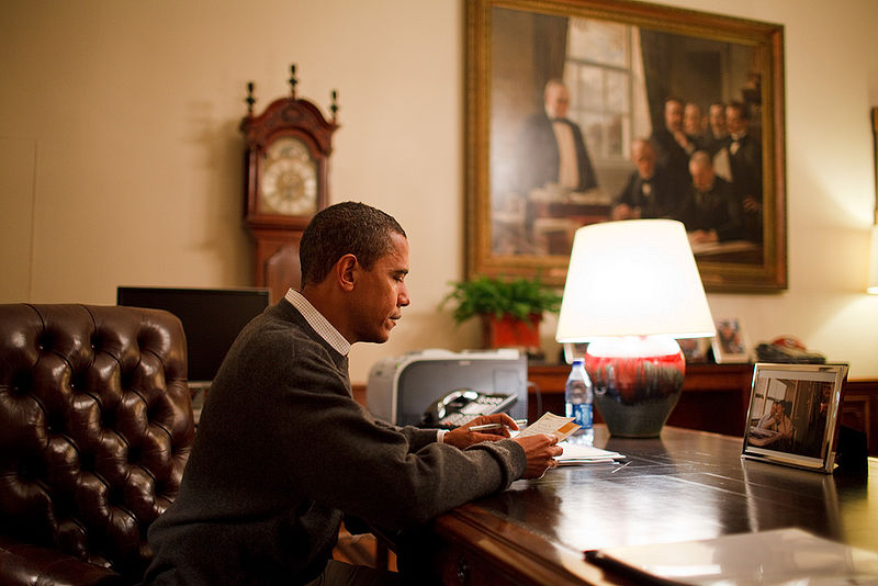 File:Barack Obama reading a letter in the Treaty Room.jpg