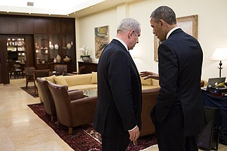 Obama talks with Benjamin Netanyahu, March 2013. Barack Obama talks with Benjamin Netanyahu (8637772147).jpg
