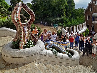 Python (mythology) - The Dragon (symbolizes Python, guardian of subterranean waters) in the Parc Güell, Barcelona, Spain