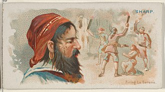 Bartholomew Sharp - Image: Bartholomew Sharp, Firing La Serena, from the Pirates of the Spanish Main series (N19) for Allen & Ginter Cigarettes MET DP835006