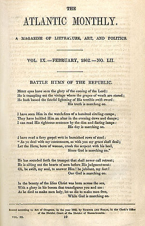 Battle Hymn of the Republic - As originally published 1862 in The Atlantic Monthly