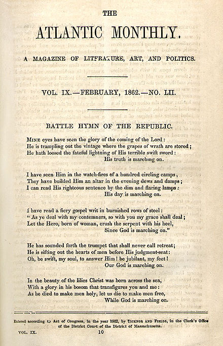 "First publication of ""Battle Hymn of the Republic"" Battle Hymn of the Republic.jpg"