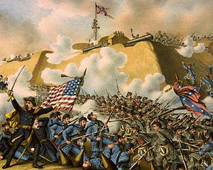 Alfred Terry -  Maj. Gen. Alfred Terry (painting/excerpt 1890): leading the Union Army to capture Fort Fisher in January 1865.