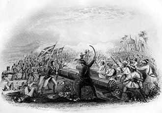 Second Anglo-Maratha War - Battle of Assaye 1st Battalion 8th Regiment of Native Infantry charge at the cannon, led by Captain Hugh Macintosh