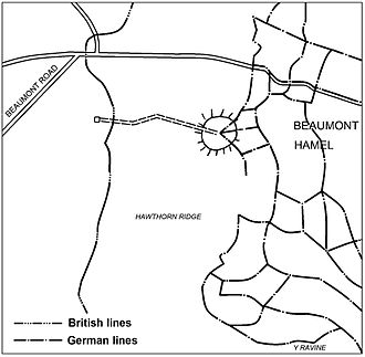 Hawthorn Ridge Redoubt - Image: Battle of the Somme 1916 H3 (Hawthorn Ridge Redoubt) mine, Beaumont Hamel