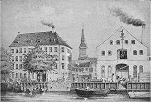 Burmeister & Wain - Image: Baumgarten og Burmeisters fabrik ca 1850