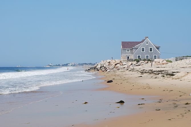 Beaches houses on the western side of Misquamicut Beach, Westerly, Rhode Island.