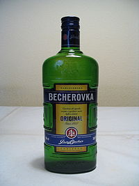 A bottle of Becherovka