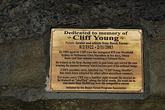 Cliff Young (athlete) - Cliff Young memorial plaque