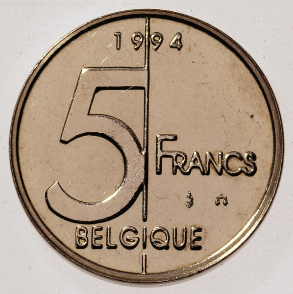 Belgian coin of 5 francs Albert II in French - reverse
